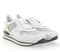 Sneaker H222 Plateau Leder weiss Stoff glitzer silber