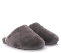 Hausschuhe Slipper Fluff Clog Lammfell grey