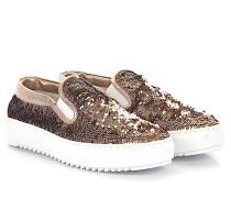 AGL Sneaker Slip On D93001 Plateau Leder Textil Pailletten