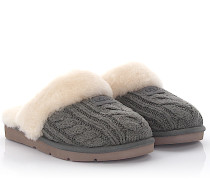Slipper Hausschuhe Cozy Knit Cable Strick Lammfell