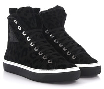 Sneaker High Boris Leopard-Look Lammfell