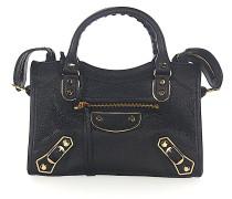 Schultertasche Handtasche CLASSIC MINI CITY Leder Metallränder gold