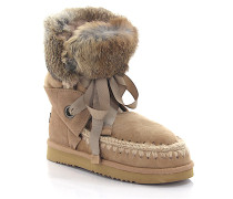 Stiefeletten Boots ESKIMO Lace and Fur Veloursleder Stricknaht Kaninchenfell
