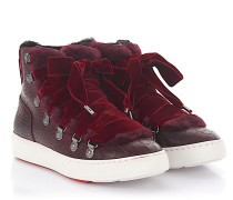 Sneaker 60278 High Top Leder Samt bordeaux Krokodilprägung Fell