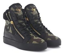 Sneaker MAY High Leder schwarz Textil camouflage Lammfell