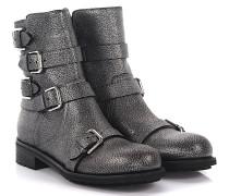 Stiefeletten Boots Dawson Flat leder anthrazit genarbt