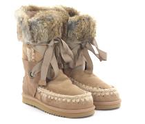 Stiefeletten Boots ESKIMO Lace Veloursleder Stricknaht Kaninchenfell