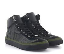 Sneaker Argyle High Top Leder schwarz Stoff camouflage