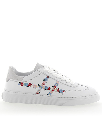 Sneaker H365 Leder weiss Blumen Stickerei