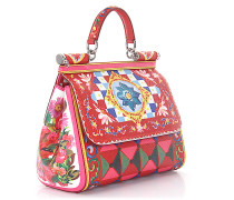 Handtasche Schultertasche SICILY MEDIUM Leder multicolor Designer-Print