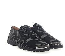 Loafer COOPER Stoff grau camouflage gummierung Leder