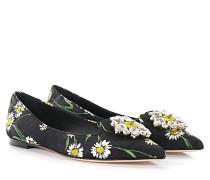 Dolce & Gabbana Ballerinas Bellucci Stoff schwarz Blumenprint  Kristallverzierung