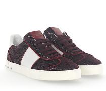 Sneaker FLYCREW Stoff Glitzer bordeaux Leder weiss