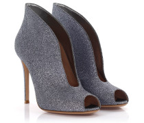 Peeptoe Ankle Boots Vamp silber Glitzer