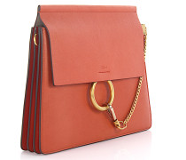 Faye Schultertasche Leder Sepia red