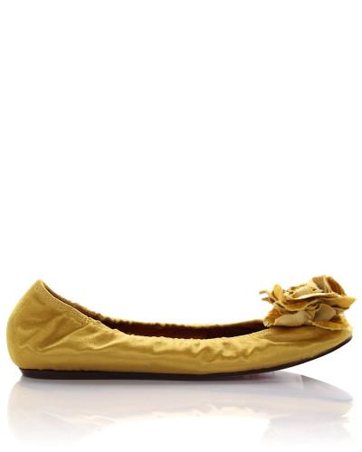 Ballerinas TDPI Leinen Kupferseide gold