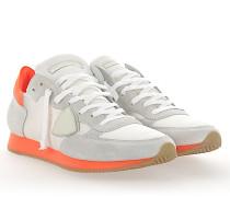 Sneaker TROPEZ Veloursleder Nylon Mesh weiss Leder neon orange
