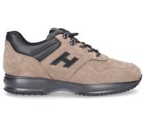 Sneaker Glattleder Nubukleder Logo Metallisch beige