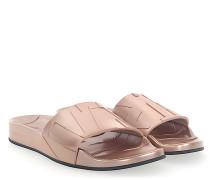 Sandalen REY Metallic beige rosé Print-Logo