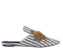 Slipper 113002 Gestreift Stickerei