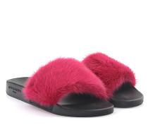 Sandalen Plate Slide Gummi schwarz Nerzfell