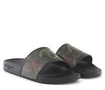 Sandalen SLIDE FLAT Kunststoff schwarz Dollar Print