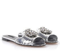 Sandalen Bianca Leder metallic Kristallverzierung