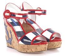 Wedge Sandalen Keilabsatz Lackleder blau weiß rot