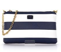 Handtasche Micro Bag Cross Body Textil-Mix Krepp Streifen weiß