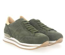 Sneaker H222 Plateau Veloursleder Leder metallic