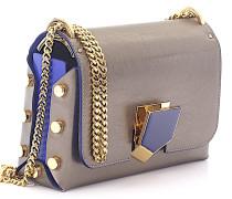 Handtasche Lockett Petite Leder Zierschnalle blau gold