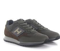 Sneaker H321 Veloursleder Mesh grün Reflektorenlogo