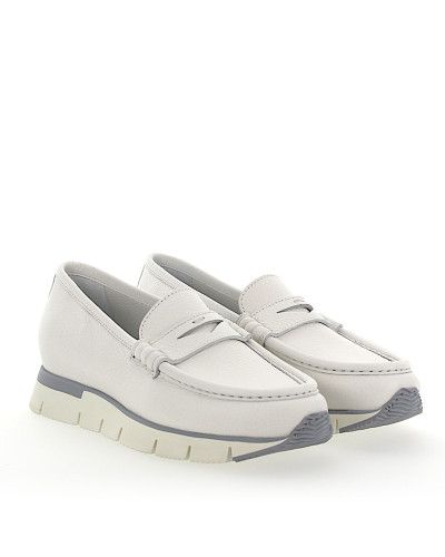 Penny Loafer 60183 Plateau Leder weiss