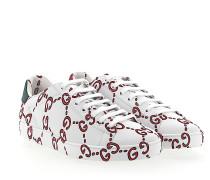 Ace Sneaker Leder weiss GG-Print rot