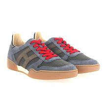 Sneaker H357 Veloursleder blau grau Mesh grau