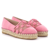 Espadrilles 92807 Veloursleder rosa Leder Blumenverzierung Bast