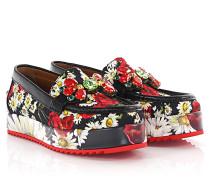 Dolce & Gabbana Mokassin Palermo Stoff Leder Blumenmuster schwarz rot Brosche