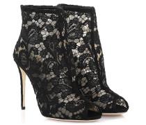 Dolce & Gabbana Stiefeletten Bette R Peeptoe Spitze schwarz Nylongaze gewebt