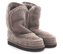 Stiefeletten Boots Eskimo 24 Veloursleder rosa schimmer Stricknaht Schafsfell