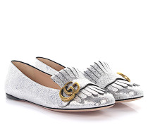 Ballerinas Leder metallic crinkled Foldover-Fransen GG-Detail
