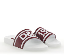 Sandalen SAINT BARTH Leder weiss bordeaux Logo