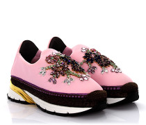 Sneakers Espadrillas Neopren rosa Bast braun Schmucksteinverzierung