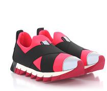 Slip-On IBIZA Stoff pink Stretchband schwarz grau Reflektordetails