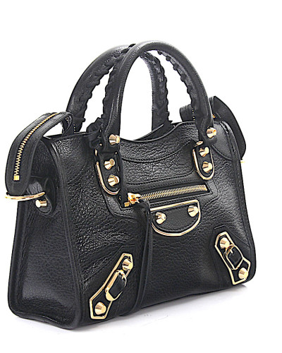 Handtasche Schultertasche Classic Mini City Metall Leder grain Nieten gold