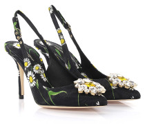 Dolce & Gabbana Slingpumps Bellucci R Stoff schwarz Blumenprint  Kristallverzierung