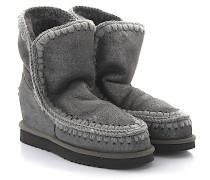 Keilstiefeletten Boots Eskimo Wedge Short Veloursleder grau silber Stricknaht grau Schafsfell