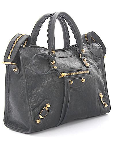 Handtasche Schultertasche Classic City S Leder grain Nieten gold