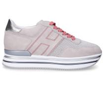 Sneaker low H483 Veloursleder Logo silber
