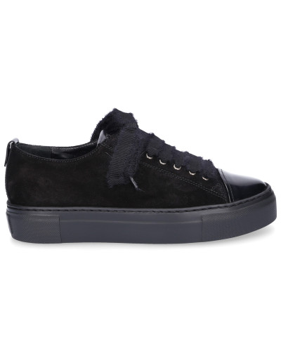 Sneaker low D92509 Lackleder Veloursleder