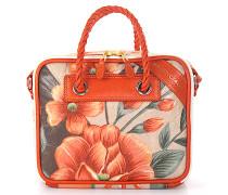 Handtasche Schultertasche BLANKET SQUARE S Leder orange Blumen-Print